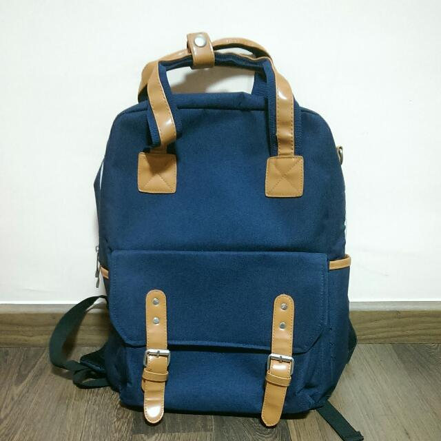 Navy Korean Style Backpack