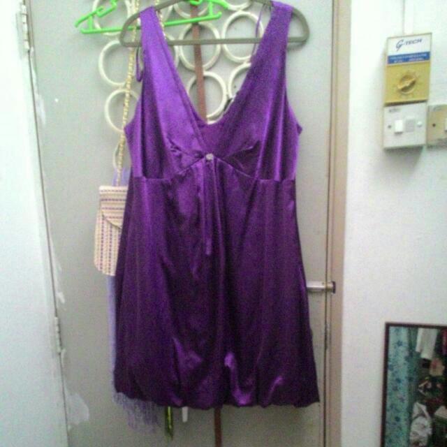 Purple Bubble Hem Satin Dress