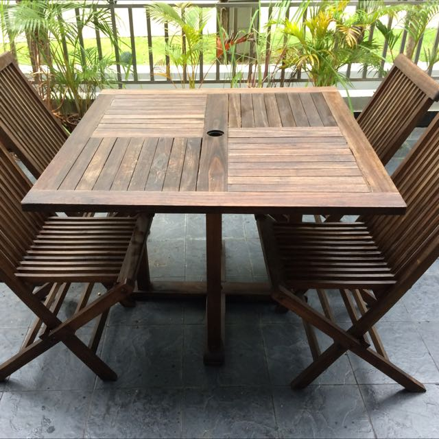 Teak Outdoor Table and Folding Chairs