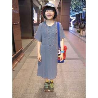 藍底白點古著雪紡洋裝