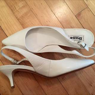 37acd622be0 Dune  Cathryn  kitten heel white leather sling back court shoes