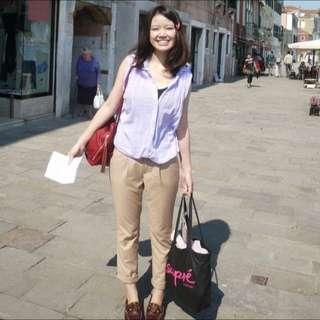 粉紫色 無袖襯衫 長版