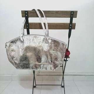 Silver Shoulder Bag/ Tote Bag