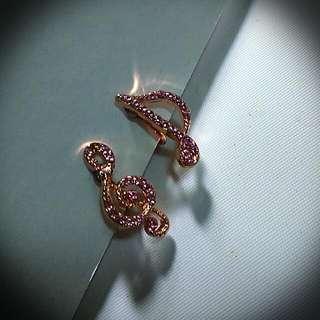 [夾式] 音樂水鑽耳環 --玫瑰金