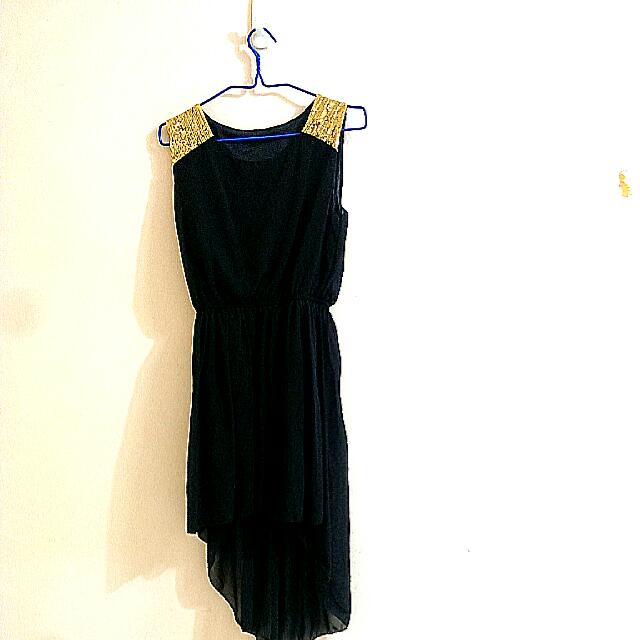 Bn Black And Gold High Low Dress On Carousell