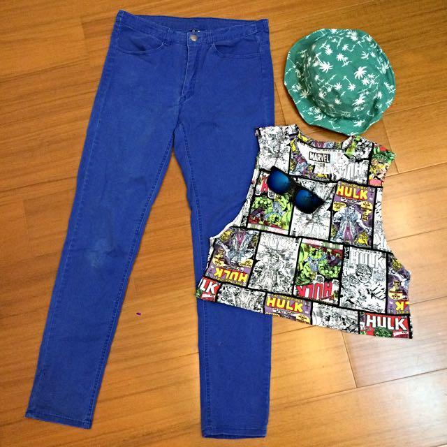 [EUR40]H&M寶藍色 薄 類牛仔 中高腰 長褲