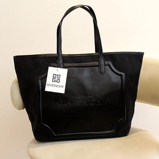 【預購】Givenchy/紀梵希 經典黑Logo拼接帆布皮革拼接帆布肩背包