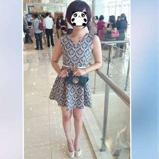 免運巴洛克風格藍色小短洋裝小v領無袖