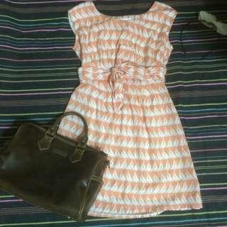 🎀橘色幾合風洋裝