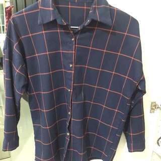 男友格紋藍襯衫