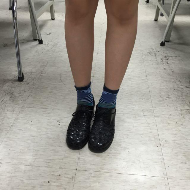 [絕美品出清]古著 編織 黑 牛津鞋