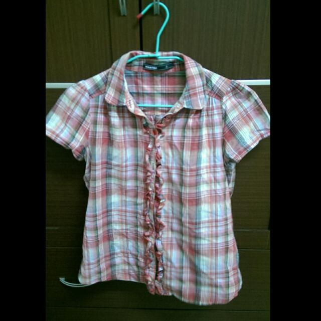 棉麻格紋襯衫 S