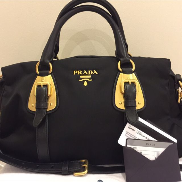 90cc153429 Authentic Prada BN1903 Tessuto Nylon Top Handle Convertible Bag ...