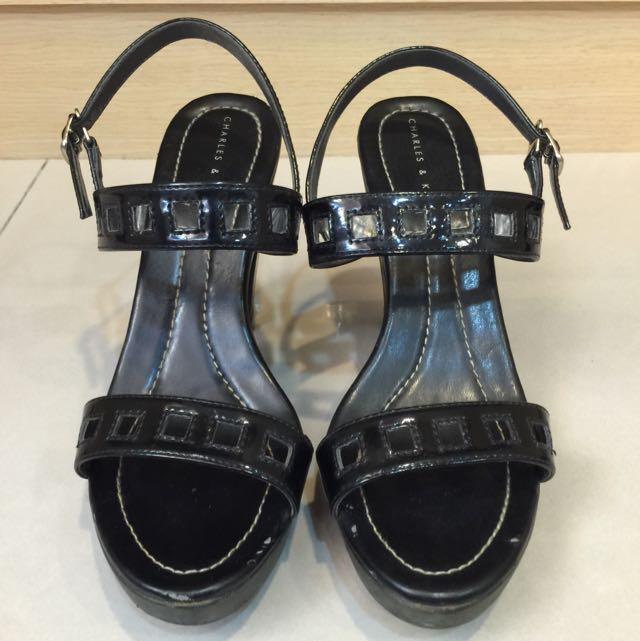 CHARLES & KEITH黑色漆皮粗跟涼鞋 37號
