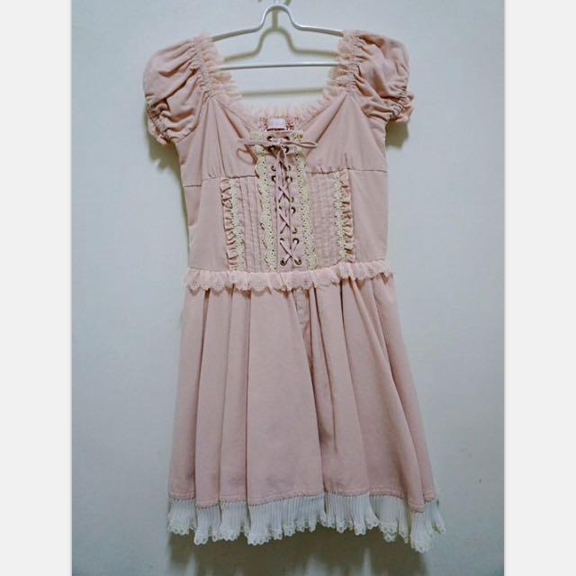降價✨LIZ LISA 正品 胸前交叉綁帶🎀雪紡邊雕花洋裝