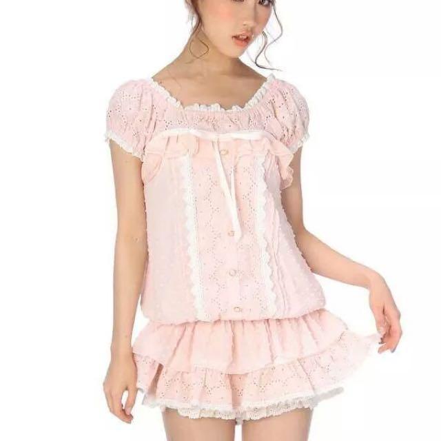 再降價✨LIZ LISA 正品粉雕花雪紡上衣+雕花花蝴蝶結粉褲裙 - 兩件組