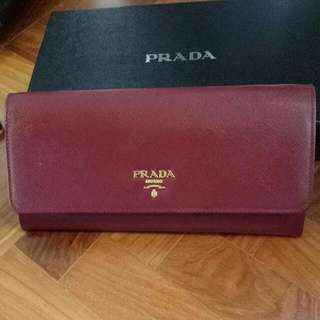 Prada Wallet With Sling. Deep Red With Gold Finishings.