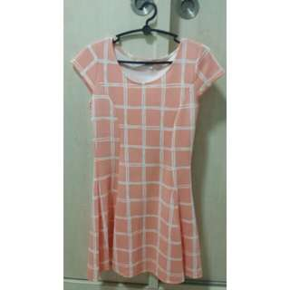 Coral Checkered Dress