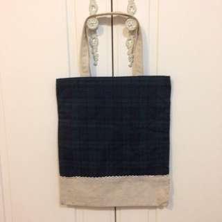 格紋棉布手提袋