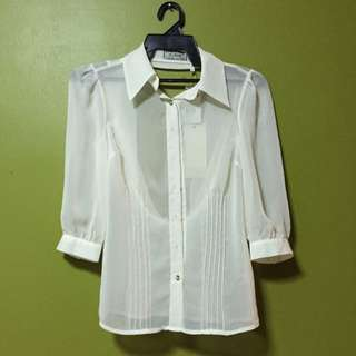 Authentic Guess Sexy Back Shirt Cream Colour