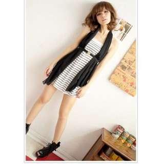 ☝🏻️全新轉賣👏🏼夏日簡約平口橫條紋伸縮腰小洋裝(白、灰)