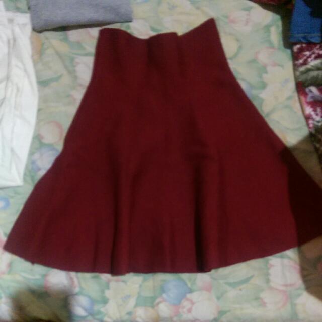 紅色高腰小圓裙