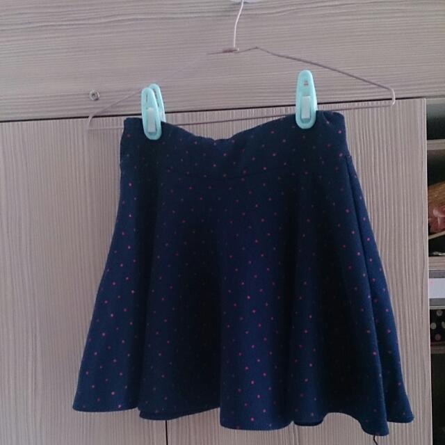 二手*毛絨藍底粉點短裙