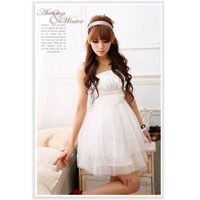 平口壓折網紗洋裝