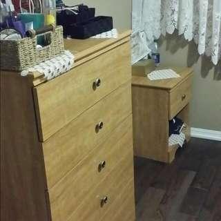2single beds dresser night table