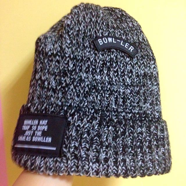 灰色針織毛帽