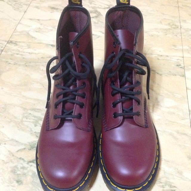 免郵 無盒 美國購入 降價 Dr.martens 全新 酒紅 中短靴 8孔 馬汀鞋靴 附黃色鞋帶