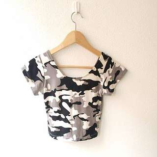 BN Camo Army Prints Cropped Short Sleeve Top Crop