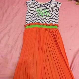 亮橘休閒長洋裝