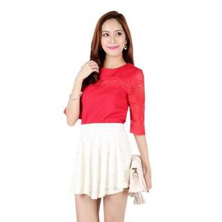 OHVOLA LAUREN LACE INSERT TOP IN RED SIZE XS