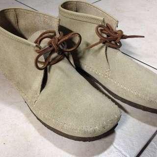麂皮短靴 平底 米色 38