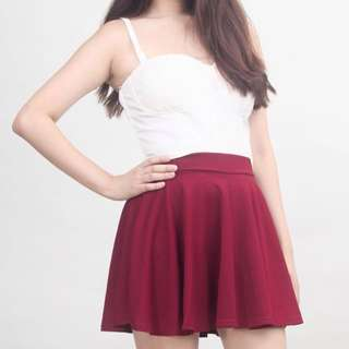 Cotton On Burgundy Skater Skirt