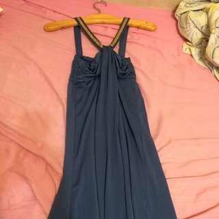 女神風深藍長洋裝