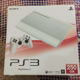 PS3 250GB White With 2 Controllers And Game