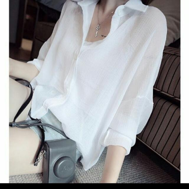 韓風氣質薄透襯衫