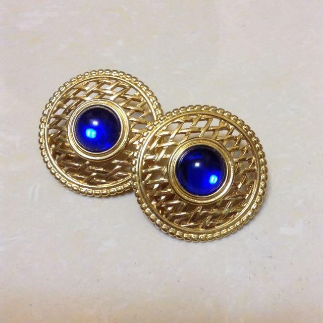 🔹復古藍寶石夾式耳環🔹