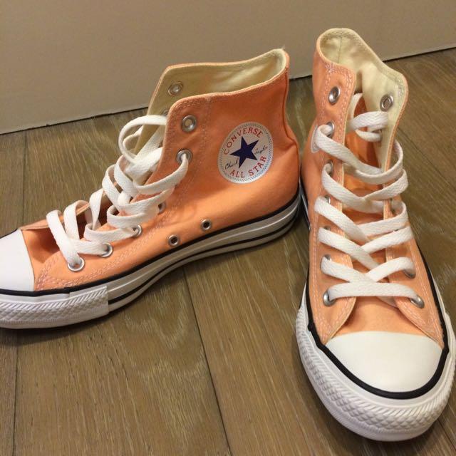 converse 粉橘帆布鞋