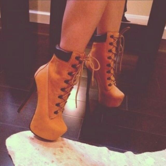 nowa wysoka jakość różnie najlepsza moda Timberland-inspired Beyonce Stiletto Heels, Women's Fashion ...