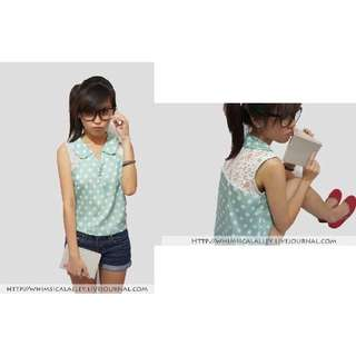 Whimsical Alley Peterpan Collar Lace Top in Mint