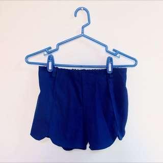 ✨寶藍色弧線邊短褲