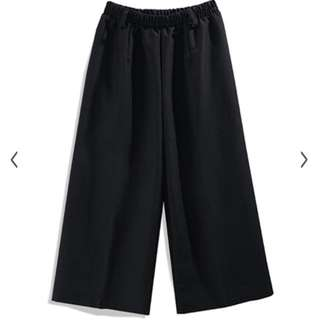 俐落時尚高腰棉麻八分寬褲 黑色