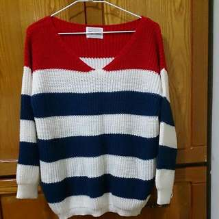 二手*東京著衣紅藍線條毛衣