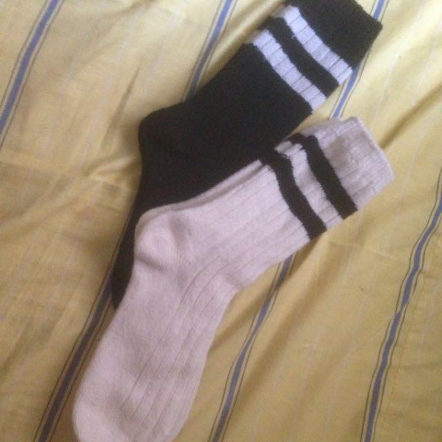 全新針織條紋襪