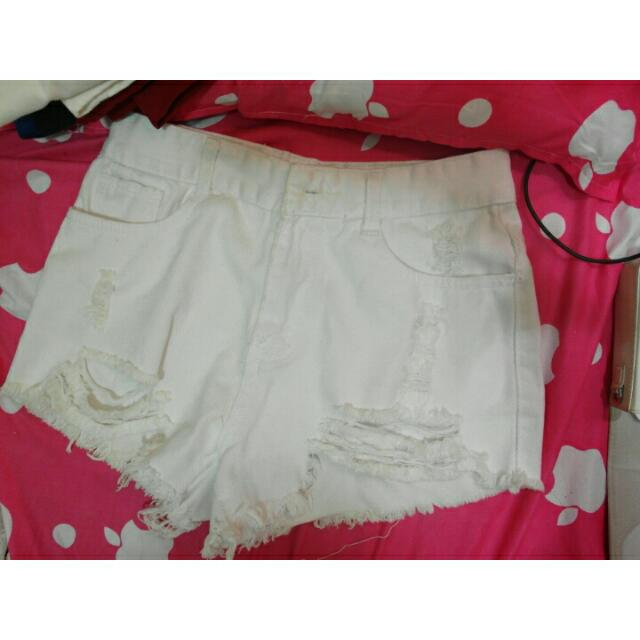 高腰破洞性感熱褲(白色)