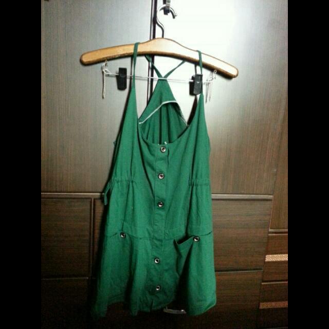 細肩吊帶裙-綠