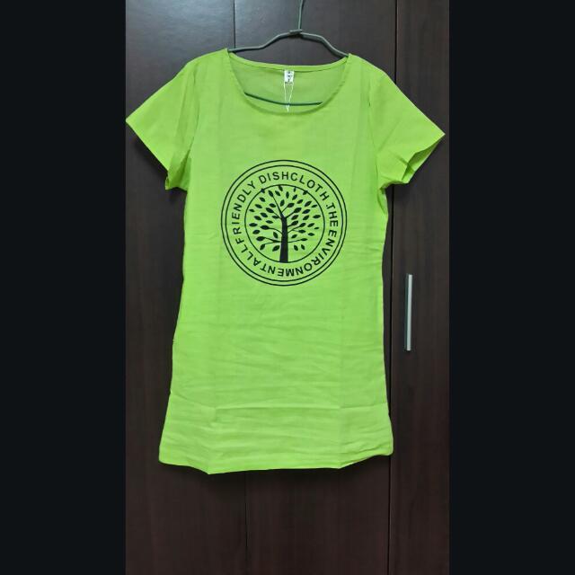 蘋果綠休閒洋裝